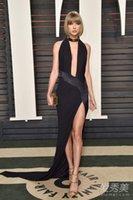 Wholesale 2016 th Oscars Celebrity Dresses Black V Neck Front Split A Line Floor Length Spandex Formal Evening Prom Gowns