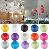 Wholesale 8 quot CM Artificial Chinese Paper Lanterns Wishing Lanterns Hang Paper Lanterns Sky Lanterns Many Colors Paper Ball For Holiday Party Decor