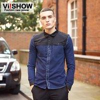Wholesale Viishow Fashion Denim Shirt Mens Patchwork Casual Long Sleeve Shirt Cotton Jeans Men Suits for Men s Clothing