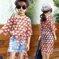Wholesale 2016 Kids Girl Summer Lovely Chiffon Flower Printing Long Shirts Girl Long Sleeve Shirt Black Green Color Sizes Children Long Shirts PW1008