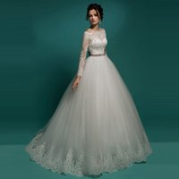 alibaba bridal gowns - Civil Puffy Wedding Dress Turkey Vintage Lace Long Sleeve Bridal Gowns Ball Gown Off the Shoulder Alibaba China Store Z258