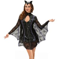 Wholesale Witch Devil Pirate Cosplay Black Sexy Holloween Costumes for Women Flirty Vamp Bat Costume