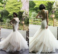 Wholesale Sweetheart Mermaid Lace Wedding Dresses Illusion Back Bridal Gowns Lace Appliques Organza Sweep Train Wedding Gowns Custom Dresses