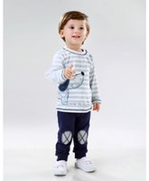 american strike - Blue strike Autumn Cotton material animal with pattern Children Baby Boys Sets Clothes O Neck Clothing Sets Long sleeve casul clothes Pants