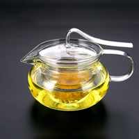 Wholesale creative heat resistant glass tea pot crystal flower coffee teapots with glass strainer tea kettles