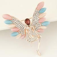 Wholesale 2016 New Design European Fashion Elegant Jewelry Metal Crystal Opal Angel Brooch Pins For Women