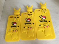 bending rubber - 3D Poke Pikachu Soft Silicone Gel Case For Iphone S Plus S SE I6 Lovely Cartoon Grovel Bend Over Pokeball Rubber Phone Cover