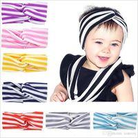 Wholesale Baby Girls Cotton Strip Bow Headbands Infant Kids Elastic Cross Head bands Hairbands Children Hair Accessories Headwear KHA368