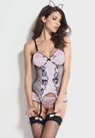 adult kitty - New Sexy lace patchwork Sexy Kitty Costume adult lingerie underwear night wear LC8775