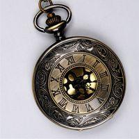 ancient roman gifts - Ancient Bronze Roman Numeral Pocket Watches Necklaces Flip Locket Quartz Watch Clocks For women women jewelry Christmas gift