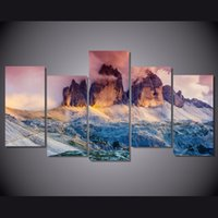 austria painting - 5 Set Framed Printed Glow Fog Austria Dolomites Painting Canvas Print room decor print poster picture canvas NY