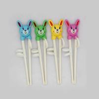 Wholesale 200pcs New Cute Rabbit Cartoon Chopsticks Early Learning Training Enlightenment Chopsticks for Children Chopsticks Gift ZA0851