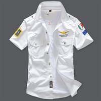 air force eagle - 2016 New Air Force One Man Shirt Cotton Military Epaulet Cool Eagle embroidery Short Sleeve Two Pocket soldier Dress Uniform Blouse