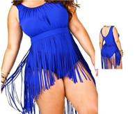 Wholesale Sexy Womens Beachwear - L--3XL Hot! 2016 Plus Size One Piece Siwmwear Brand Beach Womens Swimsuit Sexy High Waist Bathing Tassel Beachwear Solid Push Up 5 Colors