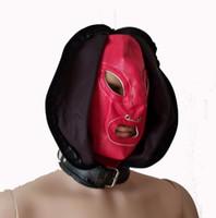 achat en gros de bouche masque de sexe féminin-Femme SM Fétiche en cuir rouge double visage Bondage diable Capuche avec la bouche ouverte Yeux Masque Adulte Sensual Jouer Produits Restraint Sex