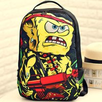 bag pack cooler - Sponge Bob spray ground backpack Angry Rambob pattern bag Nylon daypack Cool style street rucksack Sprayground design daypack
