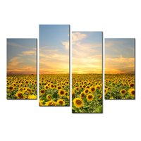 artwork wooden frames - 4 Panel Sunflowers Canvas Prints Artwork Landscape Pictures Paintings on Canvas Wall Art for Home Decorations with Wooden Framed