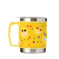 Wholesale Brand New Stainless Steel Coffee Mugs Cups Cartoon Emoji Yellow Metal Water Cups With Cover Drinkware