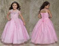Wholesale Special Occasion Dresses Teens - Fashion Sheer Neck Girls Pageant Dresses Pink 2017 Open Back Crystal Rhinestones New Little Girls Dresses Special Occasion Dresses For Teens