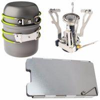aluminum canister set - Outdoor Camping Hiking Picnic Cookware Cooking Tool Set Pot Pan Piezo Ignition Canister Stove Aluminum Wind Deflector