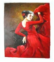 Wholesale Sell hand painted canvas oil painting latin dancer in red dress for home dinning room bedroom wall decoration in