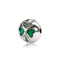 Cheap Whitetip Clover Dangle diy beads Enamel Silver Clip Charm Beads Authentic 925 Silver Fits European Style Charm Bracelets & Bangles OMC005