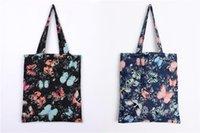 Dreamful papillon print shopping bag jeunesse sac fourre-tout fantastique épais de qualité et de haute shopper en coton et lin sac de transport