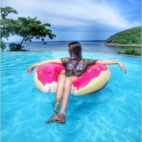 Wholesale 2016 Hot Selling Outdoor Donut Pool Inflatable Floats Pool Toys Swimming Float Floats Inflatable Donut Swim Ring Summer Water Toy