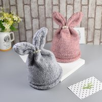 Wholesale 2016 Cute Baby rabbit beanie girls hats Toddler winter Beanie Hat Cap M T
