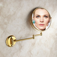Wholesale Modern designed bathroom beauty magnifying mirror with bronze copper telescopic hanging folding Rotatable Double mirror