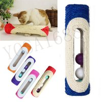 animal trapping supplies - 1 Pet Cat Kitten Kitty Toy Long Rolling Scratching Toys Ball Sisal Scratch Post Trapped Ball Training Tool Animal Supplies