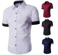 Wholesale New Fashion Stylish Men Casual Shirts Slim Dress Shirts color matching short Sleeve Shirts grid design shirt