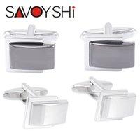 Wholesale Classic Cufflinks for Mens Shirt Cuff Bottons High Quality Square Cufflinks Business Gift fashion SAVOYSHI Brand Jewelry Design