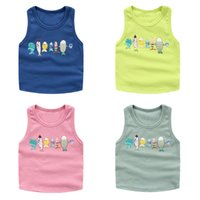 baby fish tanks - Multi candy colors summer baby Boys tank tops girls kids unisex lovely animal fish cotton knitted beach tanks exported cool sport
