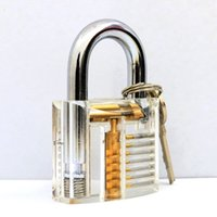 Wholesale 7 pins Transparent Cutaway Practice Clear Acrylic Lock Padlock with Locker Master Key for Baby Safety Lock Baby Lock