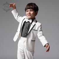 Wholesale Hot Sale Custom Made Boy Tuxedos Peak Satin Collar Children Suit Black Kid Wedding Prom Suits Jacket Pants A04