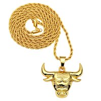 achat en gros de collier taureau hommes-HIPHOP Bull Collier 18K en alliage d'or Plating Collier tête de vache pour les femmes Magasin de bijoux hommes de haute qualité Livraison gratuite