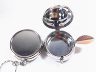 Wholesale 100PCS Portable Ashtray Stainless steel Pill box Silver DIY Metal container with keychain one compartment