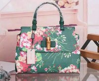 bamboo totes - Women Green Color Bamboo Daily Blooms Top Handle Bag Cerise Blooms print leather manual stitching interior zip smartphone pockets