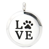 aromatherapy pets - 30mm magnet dog pet love paw Aromatherapy Essential Oil surgical Stainless Steel Perfume Diffuser Locket Necklace with chain and felt pads