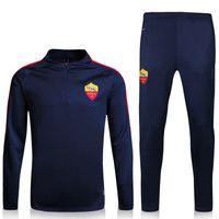 Wholesale 2017 Rome Sweater Long Sleeve Blue Jacket Match Blue Pants Training uniform Rome Sweater Tracksuit Set Soccer Training Suit