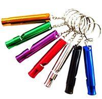 Wholesale Survival Whistle Aluminum Emergency Survival Whistle With Keychain Rescue Whistles survival Fashion gift alloy Novelty gift Mixed
