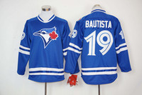 Wholesale Blue Jays Baseball Jerseys Men Bautista Fast shipping Long Blue Jerseys stitched Top quality Mix Order Free Fast Shipping