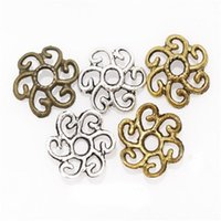 antique bronze bead caps - 11mm Antique Silver Bronze Tone Large Hollowed Flower Bead Caps Findings for DIY Jewelry Making Bracelets