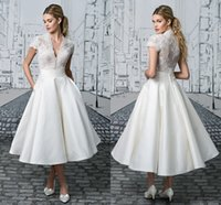 Wholesale V neck Tea Length Wedding Dresses Cheap Short Sleeves Lace A line Satin Hollow Back Vintage Cheap Wedding Bridal Dress Gown Custom