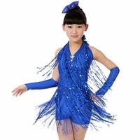 ballroom dancing dresses for kids - 2016 Latin Dance Dress For Girls Blue Rose Children Ballroom Tango Dresses Tassel Kids Dance Costumes Roupa Danca Menino DQ4004
