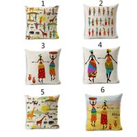Wholesale African People And Animal Cushion Covers Cotton Linen Throw Pillow Case