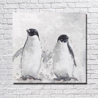 big bird pictures - hand painted animal oil painting penguin big size bird picture cheap modern canvas art