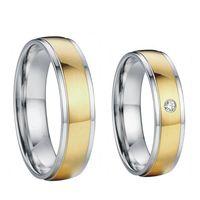 18k plaqué or pour elle et lui des bandes d'acier de mariage nuptiale de titane de santé engagement couples anneaux ensembles pour les hommes et les femmes 2015