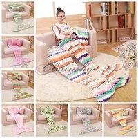 Wholesale Fedex DHL Free cm Kids Mermaid Tail Blankets Sleeping Bags Children Mermaid Wraps Cocoon Sofa Bed Soft Warmer Velvet Blankets Z407